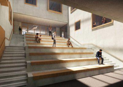 Neubau Pfrimmtalschule, Inneraum Sitztreppe