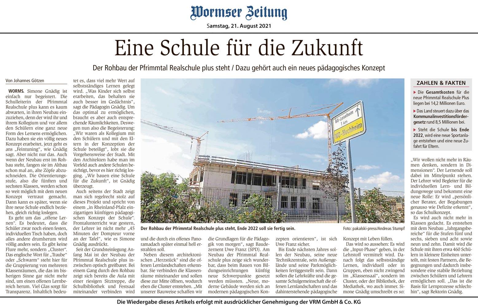 Wormser Zeitung: Eine Schule für die Zukunft