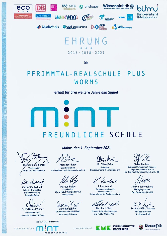 "Ehrung ""mint-freundliche Schule 2021"", Pfrimmtal-Realschule plus"